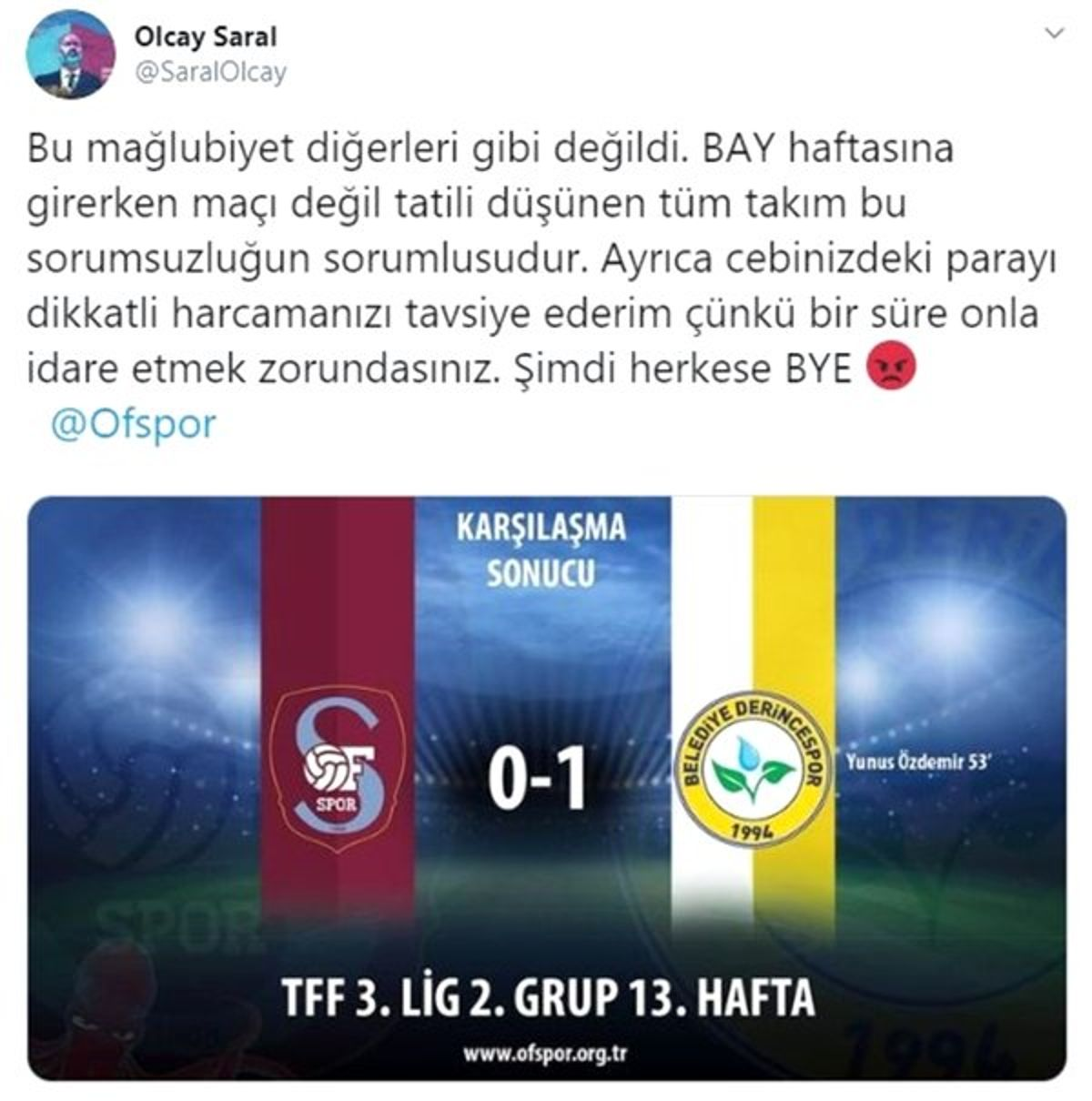 Ofspor Başkanı Olcay Saral, futbolcularını tehdit etti!