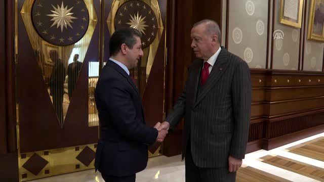 Cumhurbaşkanı Erdoğan, Irak Kürt Bölgesel Yönetimi  Başbakanı Barzani'yi kabul etti