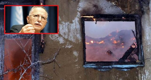 Ekmeleddin İhsanoğlu'na ait kullanılmayan evde yangın çıktı