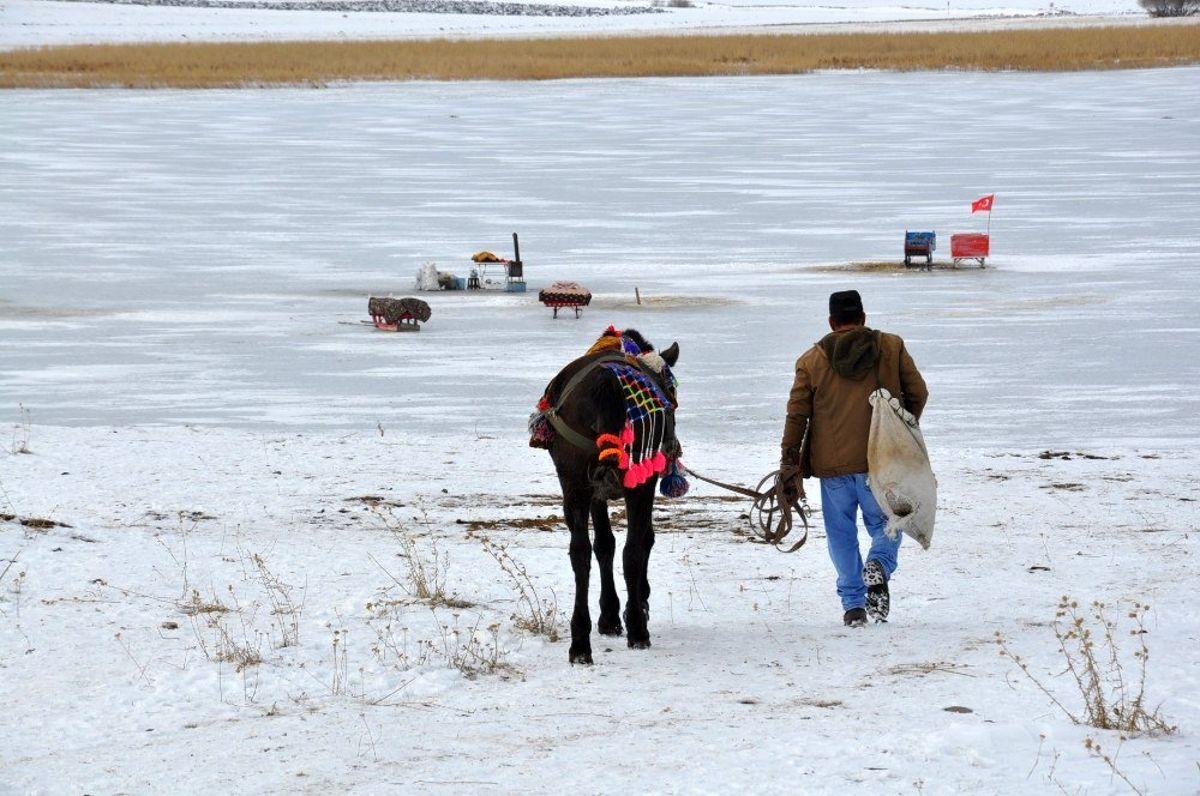 Atlı kızaklar Çıldır Gölü'ne indi