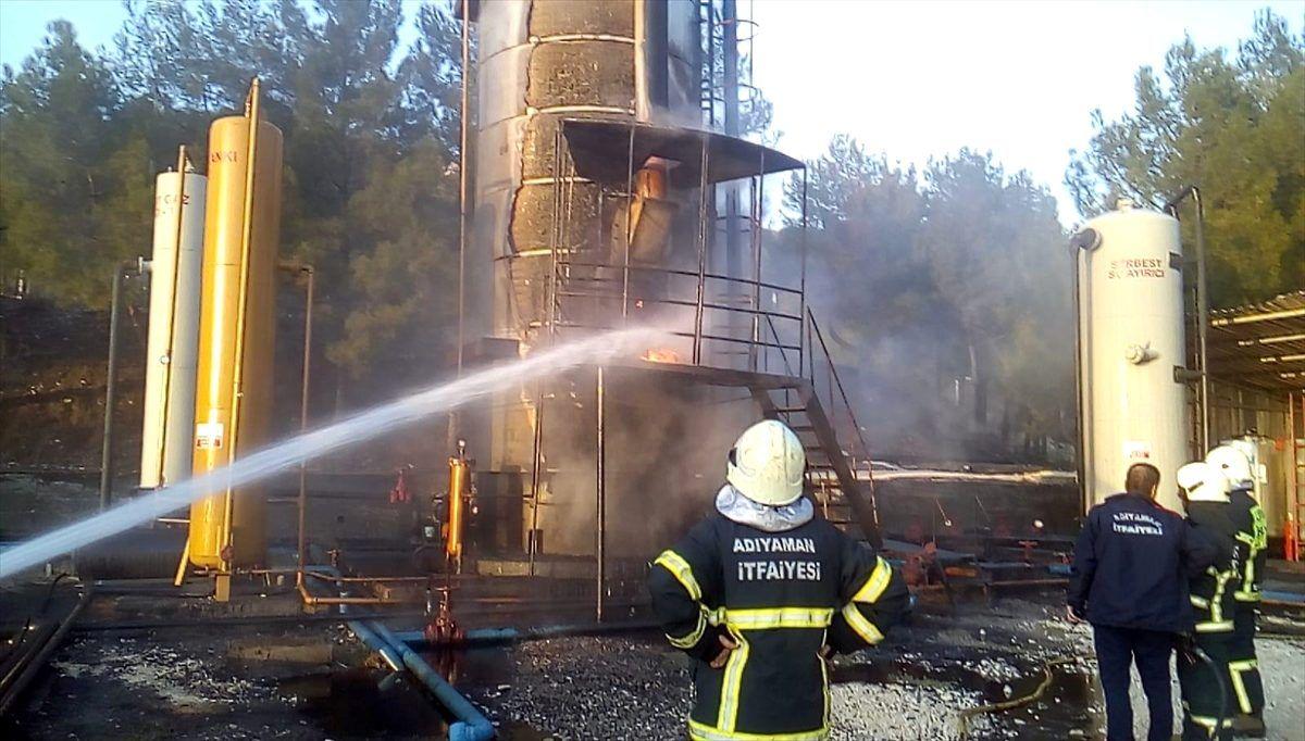 Adıyaman'da ham petrol tankında çıkan yangın söndürüldü