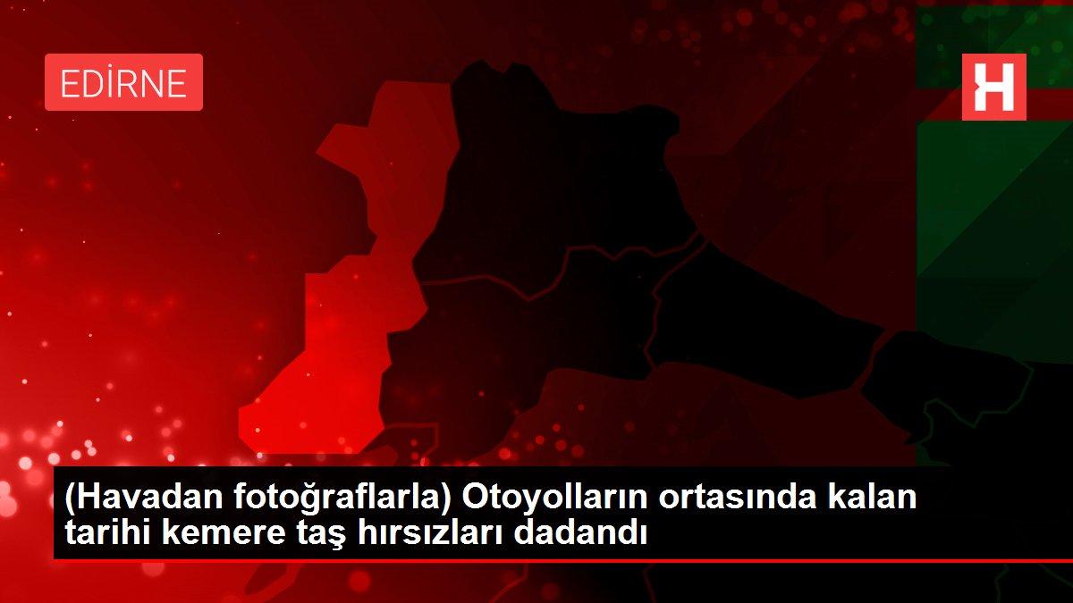 (Havadan fotoğraflarla) Otoyolların ortasında kalan tarihi kemere taş hırsızları dadandı
