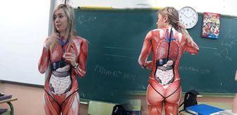 Öğretmen anatomi dersine özel kıyafetle geldi, öğrenciler şaşırdı
