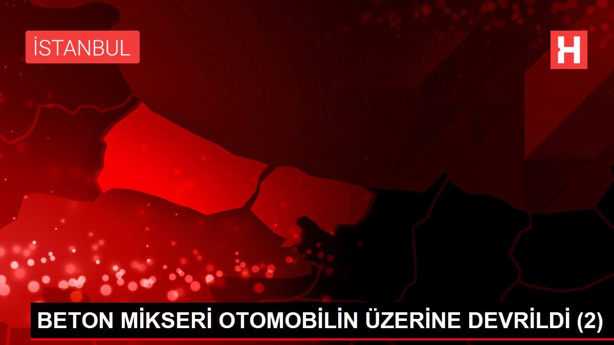BETON MİKSERİ OTOMOBİLİN ÜZERİNE DEVRİLDİ (2)