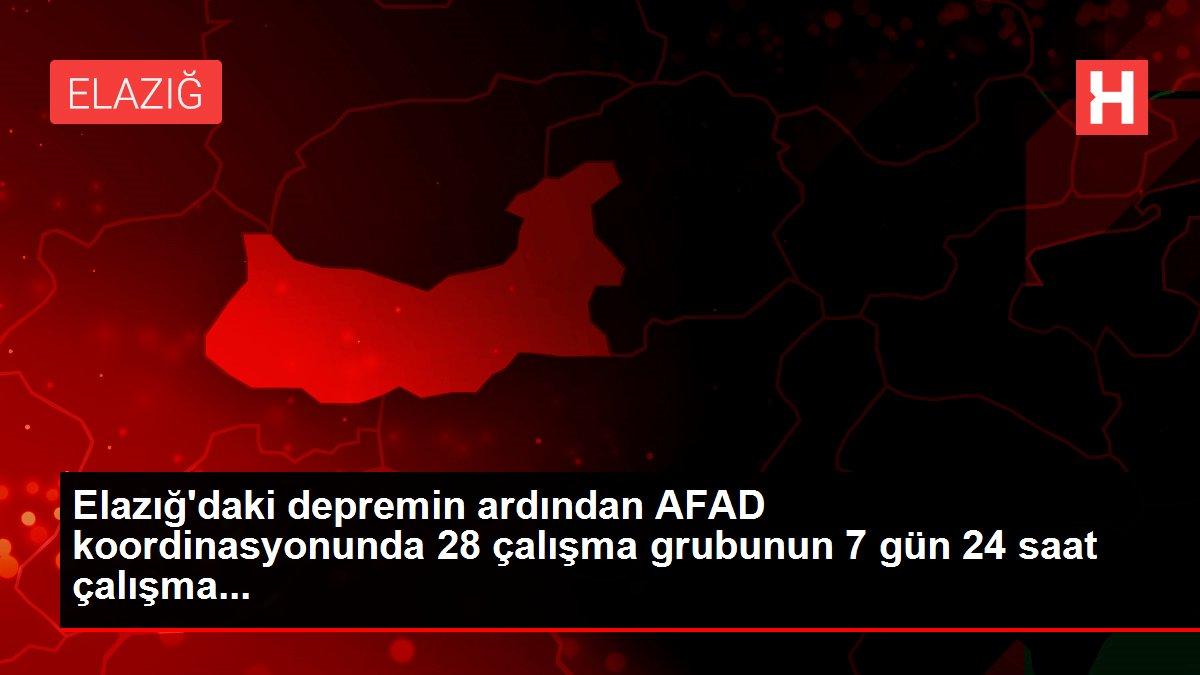 Elazığ'daki depremin ardından AFAD koordinasyonunda 28 çalışma grubunun 7 gün 24 saat çalışma...