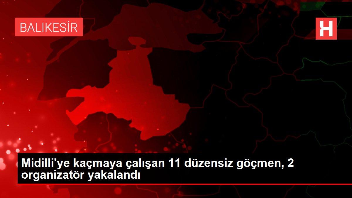 Midilli'ye kaçmaya çalışan 11 düzensiz göçmen, 2 organizatör yakalandı