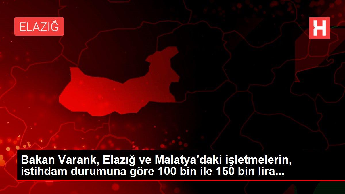 Bakan Varank, Elazığ ve Malatya'daki işletmelerin, istihdam durumuna göre 100 bin ile 150 bin lira...