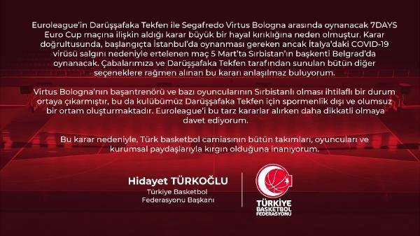 Hidayet Türkoğlu: Euroleague'in kararı hayal kırıklığına neden oldu