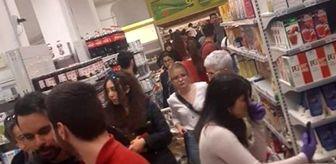 KKTC'de koronavirüs nedeniyle panikleyen halk marketlere hücum etti