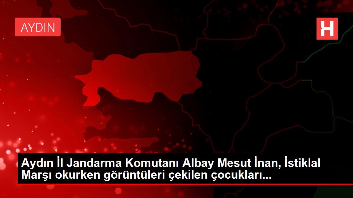 Aydın İl Jandarma Komutanı Albay Mesut İnan, İstiklal Marşı okurken görüntüleri çekilen çocukları...