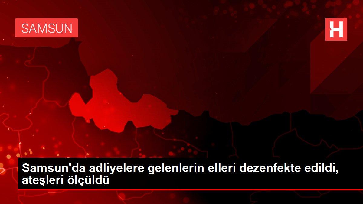 Samsun'da adliyelere gelenlerin elleri dezenfekte edildi, ateşleri ölçüldü