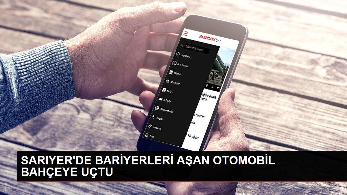SARIYER'DE BARİYERLERİ AŞAN OTOMOBİL BAHÇEYE UÇTU