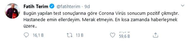 Son Dakika: Fatih Terim'in koronavirüs testi pozitif çıktı