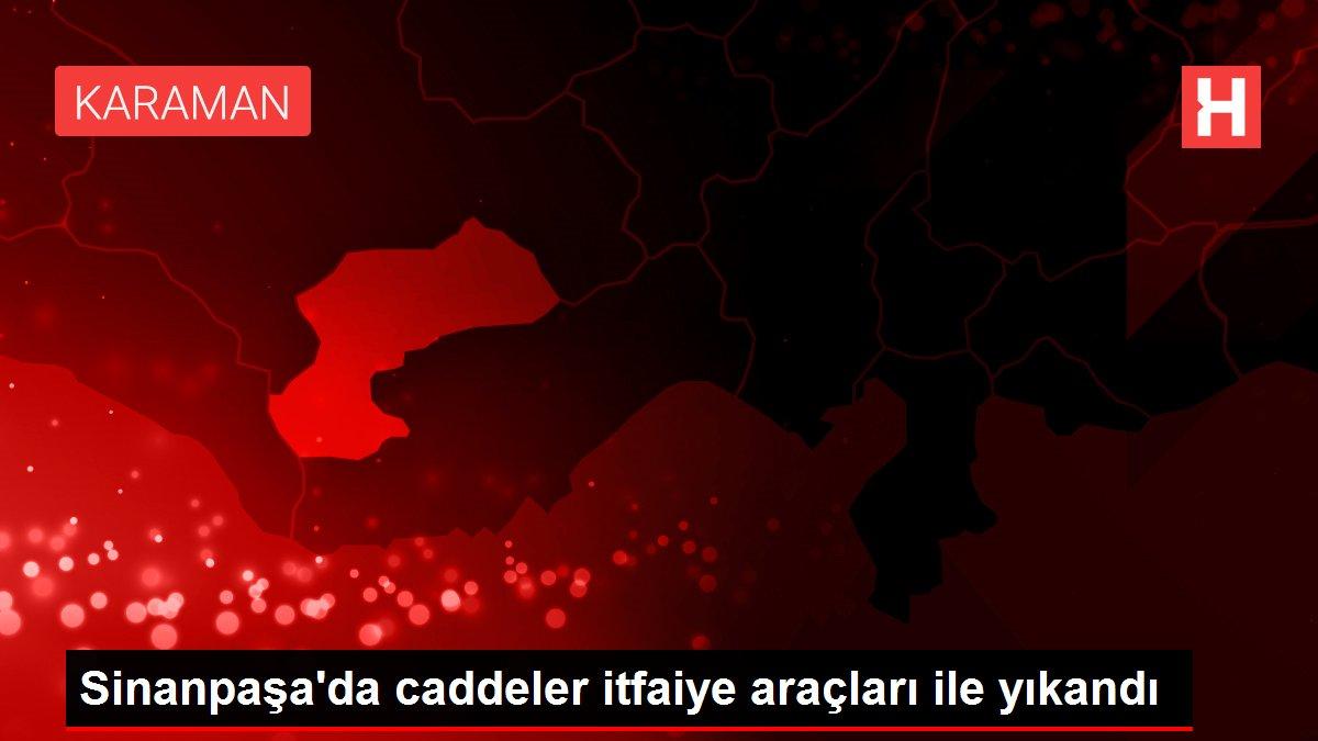 Sinanpaşa'da caddeler itfaiye araçları ile yıkandı