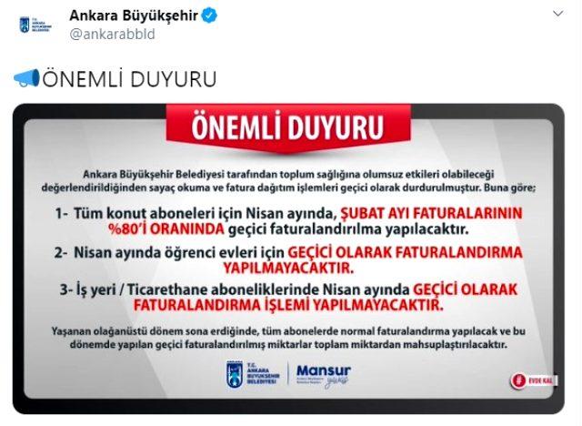 Ankara Büyükşehir Belediyesi, su faturalarını durdurdu