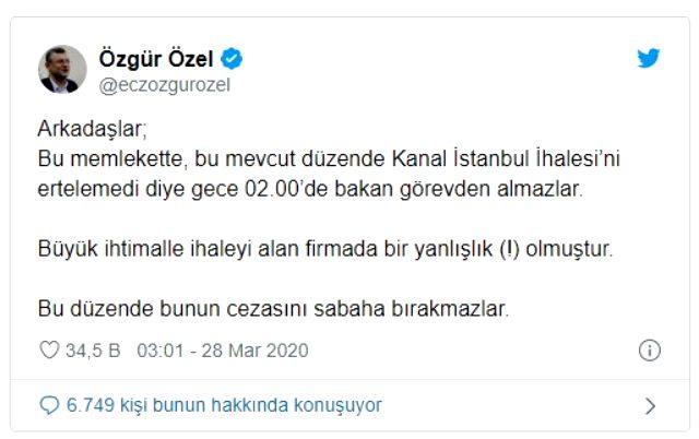 Ulaştırma ve Altyapı Bakanı Cahit Turan'ın görevden alınmasına CHP'den ilk yorum