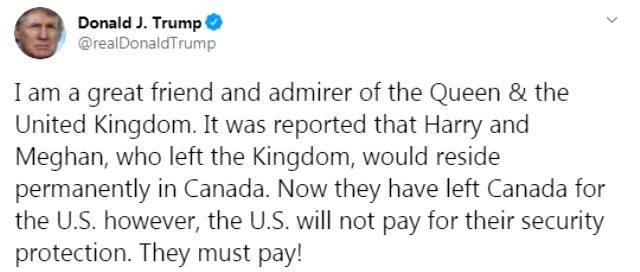 ABD Başkanı Trump: Harry ve Meghan'ın güvenliği için ödeme yapmayacağız