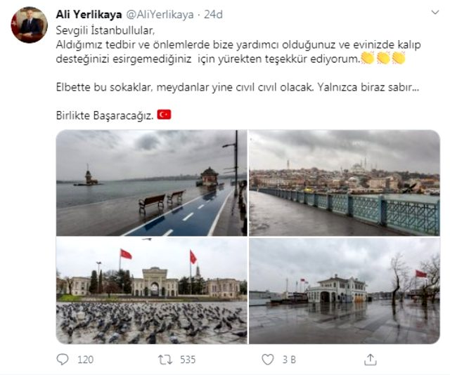İstanbul Valisi Yerlikaya, kararlara uyan İstanbullulara teşekkür etti