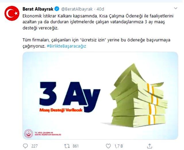 Bakan Albayrak: Vatandaşlarımıza 3 ay maaş desteği vereceğiz