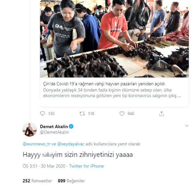 Demet Akalın'ndan Çin'de vahşi hayvan pazarlarının yeniden açılmasına küfürlü tepki