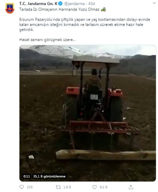 Jandarma, yaş kısıtlamasından dolayı evinde kalan amcanın tarlasını ekime hazır hale getirdi