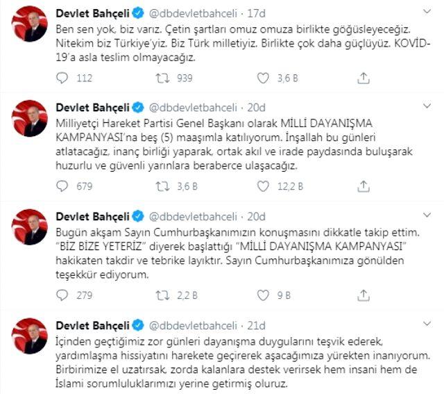 Son Dakika: MHP Genel Başkanı Bahçeli: Milli Dayanışma Kampanyası'na 5 maaşımla katılıyorum
