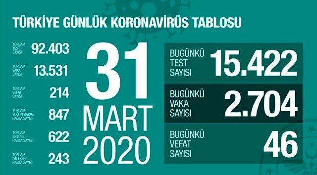 Son Dakika: Türkiye'de koronavirüs vaka sayısı 13 bin 531'e, can kaybı ise 214'e yükseldi