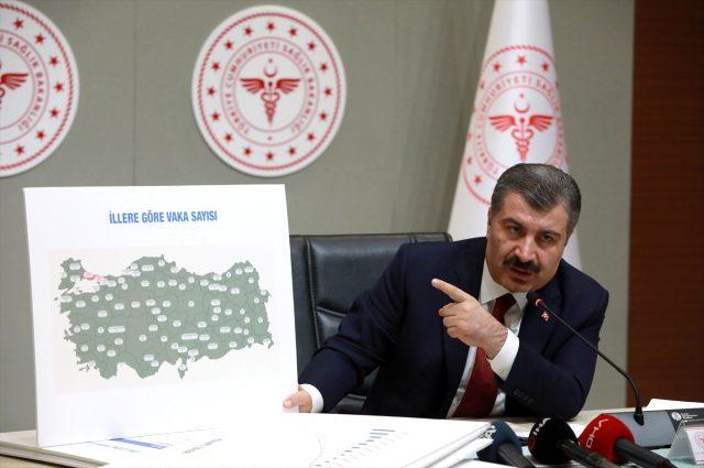 Son Dakika: Sağlık Bakanı Koca, Türkiye'deki koronavirüs vaka sayıları gösteren haritayı paylaştı