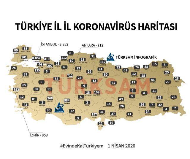 İşte illere göre koronavirüs haritası! Hangi ilde kaç vaka var?