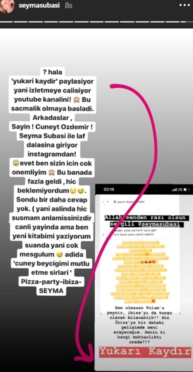 Dün akşam canlı yayın yapan Şeyma Subaşı ve Cüneyt Özdemir, bugün Instagram'dan birbirine gönderme yaptı
