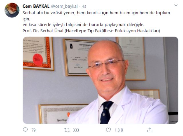 Koronavirüs testi pozitif çıkan Bilim Kurulu üyesinin Prof. Dr. Serhat Ünal olduğu ortaya çıktı