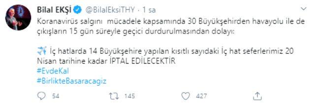 Son Dakika: Türk Hava Yolları iç hat seferlerini 20 Nisan'a kadar durdurdu
