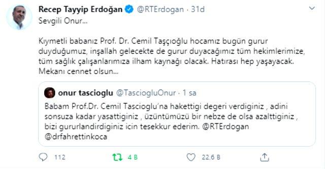 Cumhurbaşkanı Erdoğan'dan koronavirüsten ölen Prof. Dr. Cemil Taşçıoğlu'nun oğluna mesaj