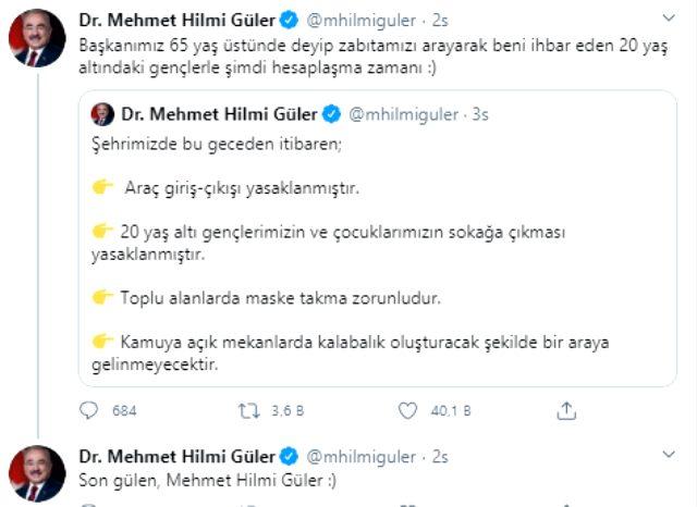 Ordu Belediye Başkanı Hilmi Güler'den yasak sonrası gençlere güldüren mesaj: Şimdi hesaplaşma zamanı