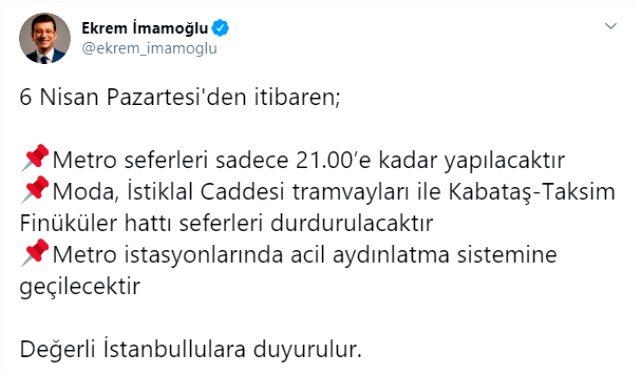 Son Dakika: İstanbul'da 6 Nisan Pazartesi'den itibaren metro seferleri 21.00'e kadar yapılacak