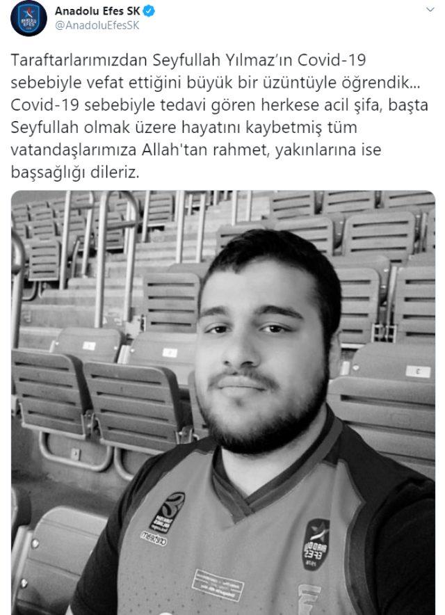 22 yaşındaki Anadolu Efes taraftarı, koronavirüs nedeniyle hayatını kaybetti