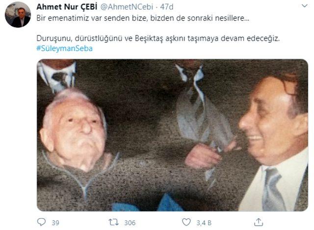Ahmet Nur Çebi'den Süleyman Seba paylaşımı