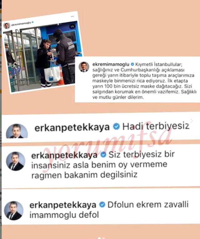 Petekkaya'dan İmamoğlu'nun Instagram paylaşımına olay yorum: Defol, terbiyesiz