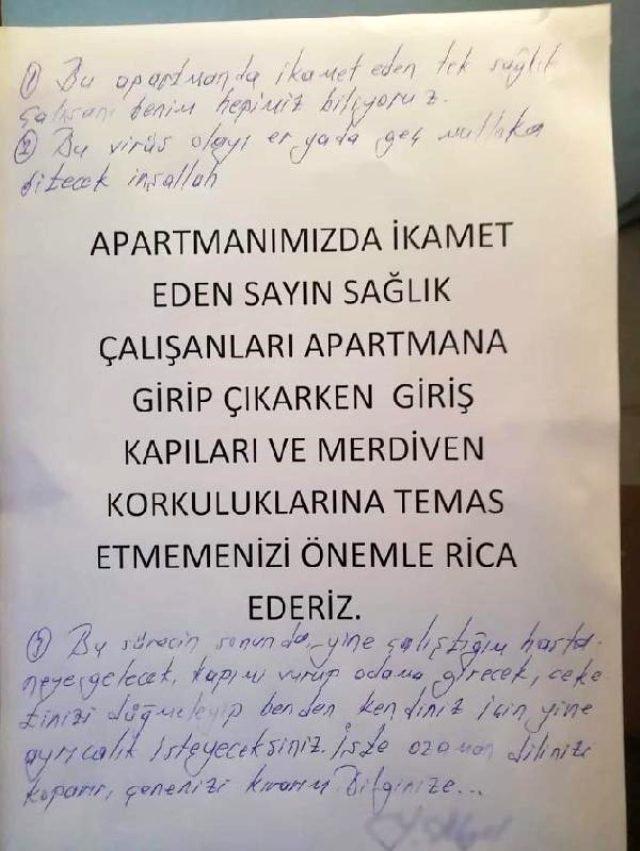Sağlık çalışanının oturduğu apartmana yazılan yazı tepki çekti