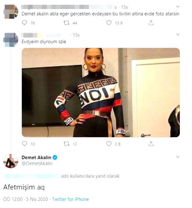 Demet Akalın'dan, sosyal medyadaki ev hali fotoğrafına küfürlü yorum