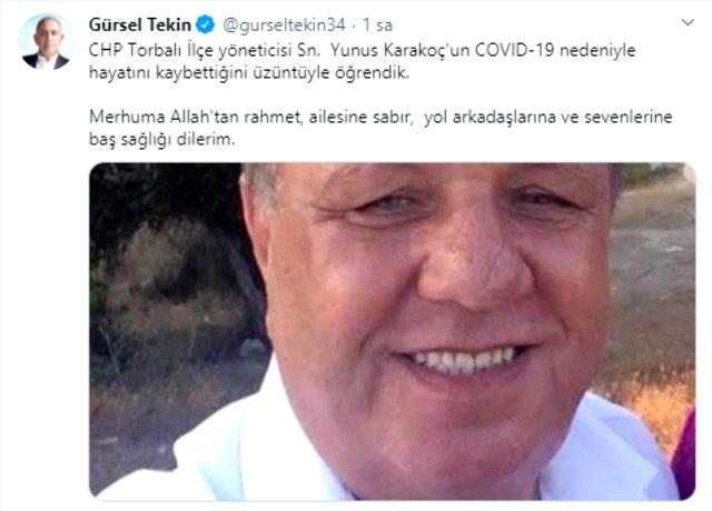 CHP Torbalı ilçe yöneticisi Yunus Karakoç, koronavirüs nedeniyle hayatını kaybetti