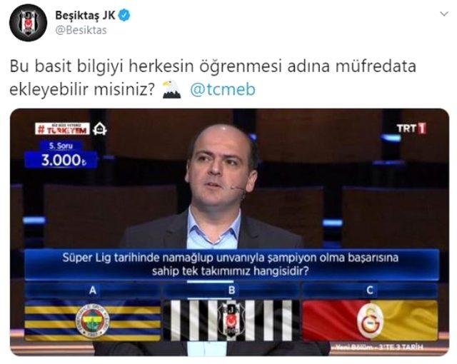Beşiktaş, yarışmada çıkan soruyla ezeli rakiplerine göndermede bulundu
