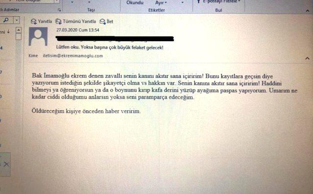 İBB Başkanı Ekrem İmamoğlu'nu mail üzerinden tehdit eden şüpheli gözaltına alındı