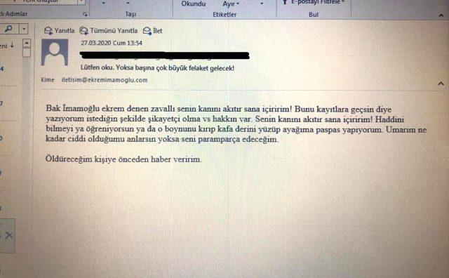 İmamoğlu'na gelen mailde korkunç tehdit: Seni paramparça edeceğim