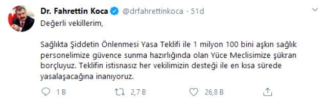 Sağlık Bakanı Koca'dan vekillere çağrı: Sağlıkta şiddetin önlenmesi teklifinin en kısa sürede yasalaşacağına inanıyoruz