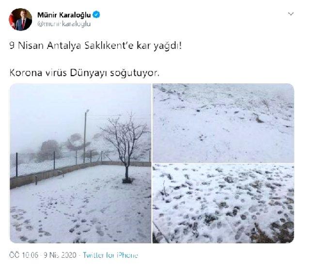 Antalya Saklıkent'e 10 yıl sonra Nisan ayında kar yağdı