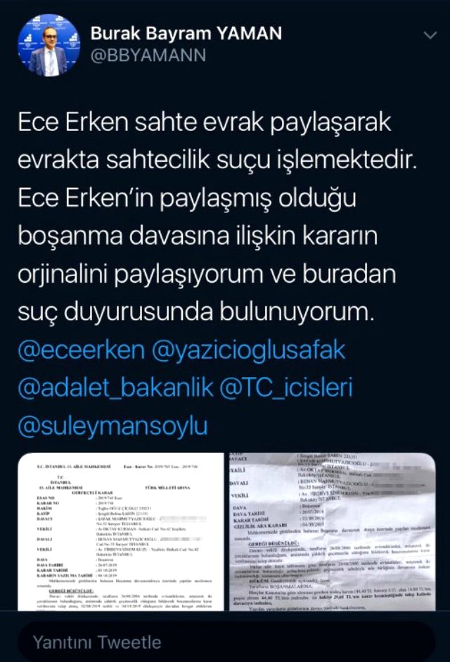 Avukat Burak Bayram, evli sevgilisinin sahte boşanma belgesini paylaşan Ece Erken hakkında suç duyurusunda bulundu