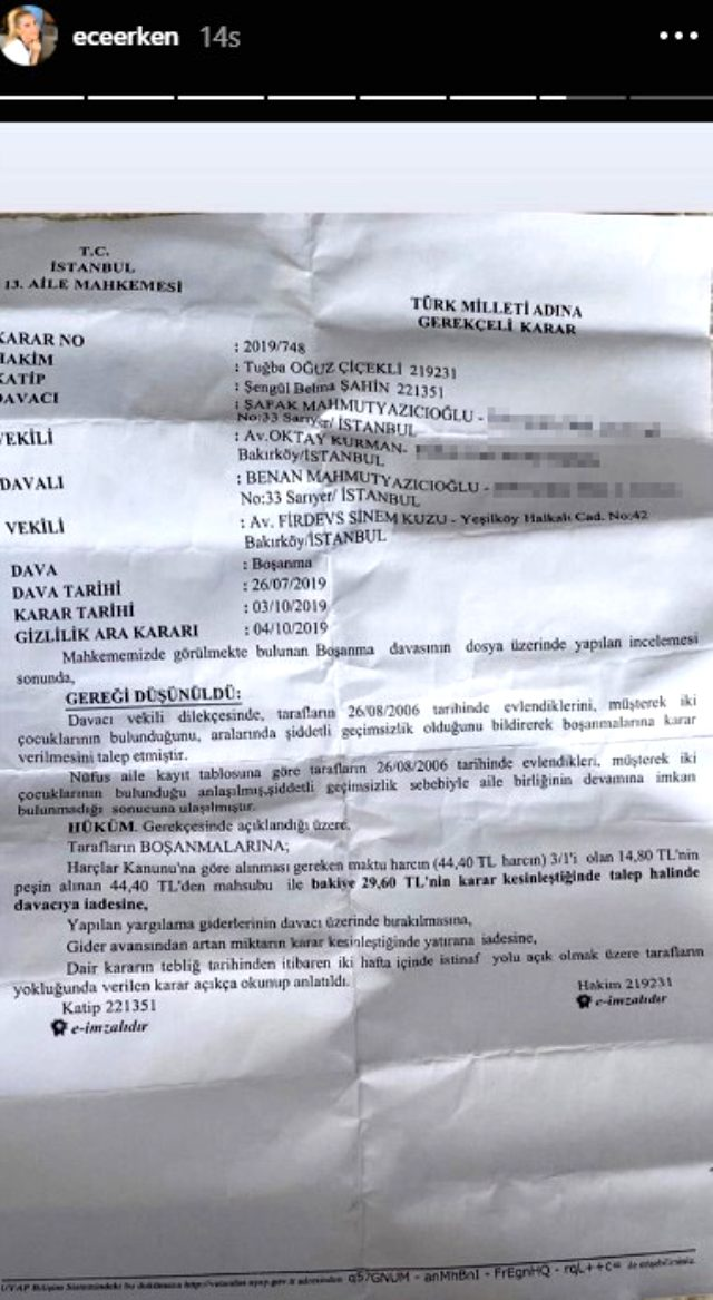 Avukat Burak Bayram, sevgilisinin sahte boşanma belgesini paylaşan Ece Erken hakkında suç duyurusunda bulundu