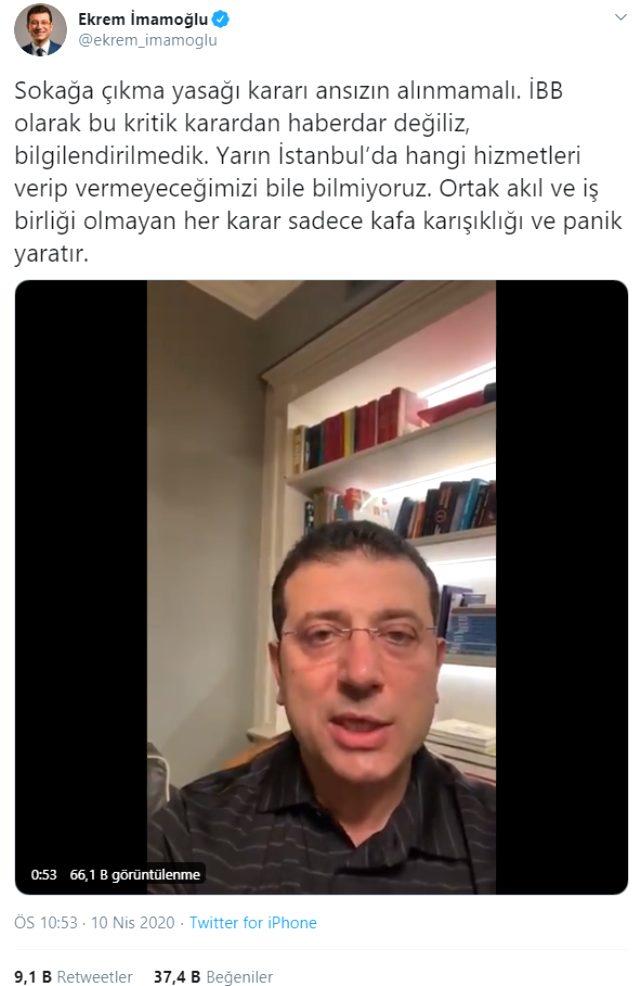 İBB Başkanı İmamoğlu: Sokağa çıkma yasağından haberdar değildik