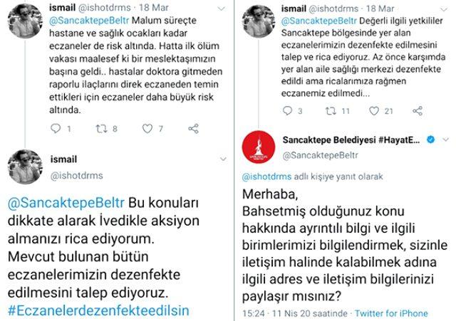 Sancaktepe'de ölen eczacının ilaçlama çağrısına Sancaktepe Belediyesi eczacı öldükten sonra cevap verdi